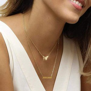 14k Butterfly Layered Women's Necklace! New!